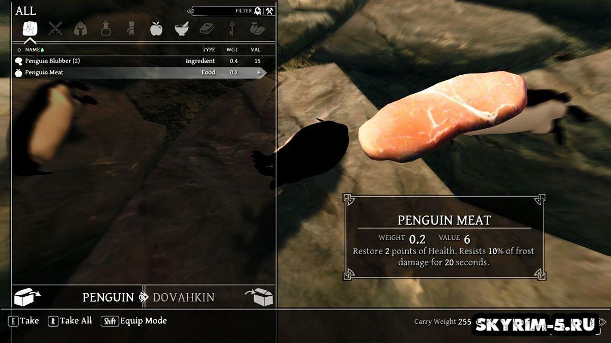 Дикие пингвины в Скайриме -